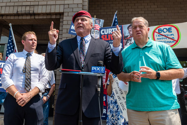 Republican mayoral candidate Curtis Sliwa joins Queens GOP representatives in calling for overhaul of city's Board of Elections